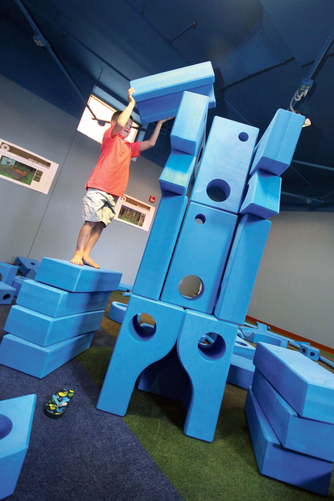 THE IMAGINATION PLAYGROUND AT THE CHILDREN'S MUSEUM OF EAU CLAIRE – A SET OF OVERSIZED BLOCKS – IS GREAT FOR IMAGINATIVE PLAY.
